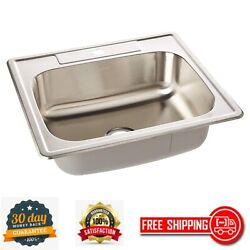 Drop-in Utility Laundry Kitchen Sink Stainless Steel 25 X 22 Single Bowl Silver