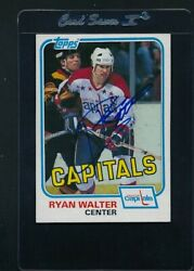 1981/82 Topps East 122 Ryan Walter Capitals Signed Auto C8939
