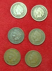 Lot Of 6 Us One Cent Indian Head 1863 1863  1891 1902 1907 1908