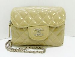 Auth CHANEL Matelasse Beige Patent Leather Other Style Wallet