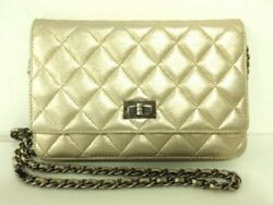 Auth CHANEL 2.55 Gold Lambskin Other Style Wallet