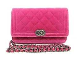 Auth CHANEL Boy Chanel Pink Velour Other Style Wallet