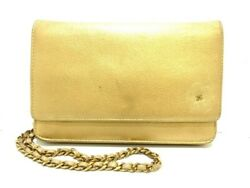 Auth CHANEL Camellia Gold Leather Other Style Wallet