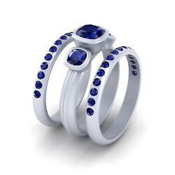Interactive R2d2 Robot Inspired 3 Stone Blue Sapphire Engagement Ring Trio Set