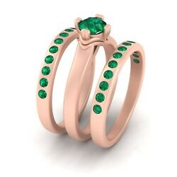Solitaire Green Emerald Engagement Ring Wedding Band Set 3pc Matching Ring Set