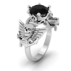 Pirates Anchor Archangel Wings Skull Engagement Ring Lab Created Onyx Skull Ring