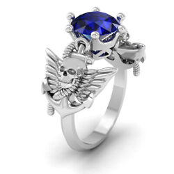 Angel Wings Gothic Skull Engagement Ring Solid 925 Sterling Silver Skull Jewelry