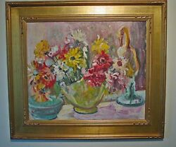 Original Signed Impressionist Oil Painting On Canvas Floral Still Life With Vase