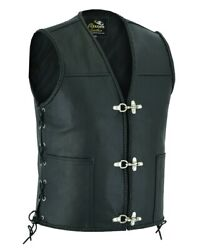 Free Delivery Real Leather Bikers Waistcoat Fish Hook Buckle Black / Tan Brown