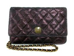 Auth CHANEL Matelasse Bordeaux Suede Other Style Wallet