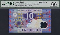 Netherlands 10 Gulden 1997 Specimen Kingfisher Pmg 66 Epq Pick 99s