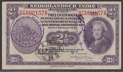 Netherlands Indies 2 1/2 Gulden 1943 With Saparua And Rms Stamp, Ef, Pick 112