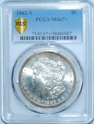 1882 S Pcgs Ms67+ Morgan Silver Dollar Vam-23 Rpd Repunched Date Tilted Mm
