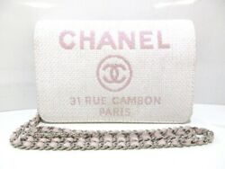 Auth CHANEL Deauville Line Pink Straw Other Style Wallet