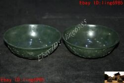 4 Old Chinese Dynasty Palace Jasper Hand Carved Double Dragon Tea Cup Bowl Pair