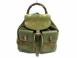 Auth GUCCI Bamboo DarkGreen Brown Suede & Leather Wood Backpack $248.00