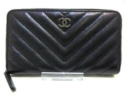 Auth CHANEL Chevron Quilting Black Caviar Skin Other Style Wallet