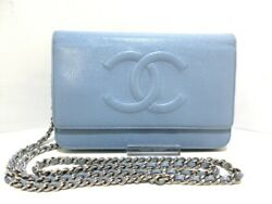 Auth CHANEL Light Blue Caviar Skin Other Style Wallet
