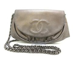 Auth CHANEL Half Moon A40033 Bronze Caviar Skin Other Style Wallet