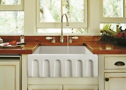 Zuhne Ostia White Farmhouse Single Bowl Fireclay Kitchen Sink