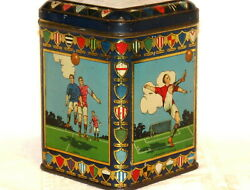English Scottish League Cup Sports Soccer Football Biscuit Tin 1920s