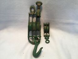 Antique Vintage Metal Double Pulley 6 1/2 And Metal Triple Pulley 14