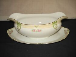 Antique Nippon Hand Painted Porcelain Gravy Boat With Underplate Pink Flowers