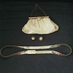 Vintage Lot Of Whiting And Davis Accessories Bag/purse - Belt- Clip Earrings Vgc