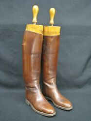 1930s Custom Henry Maxwell Of London Hunt Boots W/ 3-part English Wood Trees 9m