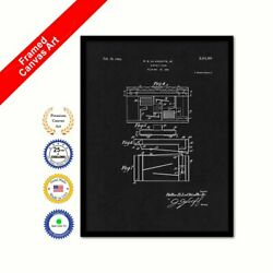 1940 Electric Piano Vintage Patent Canvas Print Black Framed Art Gift Ideas