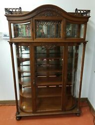 Antique Victorian Display Cabinet Case With Curved Glass