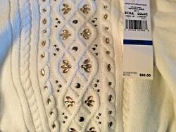 Nwt Alfred Dunner Pxl Cable Knit Sweater Eskimo Kiss Sequins Long Sleeves White