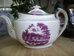 19th Century Ridgway Teapot Porcelain Staffordshire Puce+silver Luster 1810+
