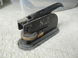 Antique Cast Iron Notary Press Stamp Seal 1928 American Stores Company Asco Nj
