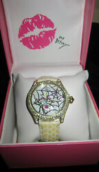 Betsey Johnson Htf Lots Of Bling With Bling Spider And Spider Web Watch