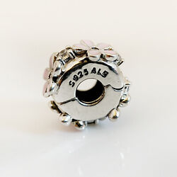 925 ALE Sterling Silver Authentic Pandora Charms Pink Daisy Enamel Bead Pendant