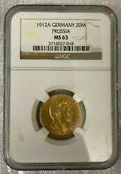 1912 A Germany 20mark Prussia Gold Coin Ngc Ms 63