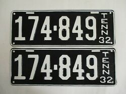 Pair 1932 Tennessee License Plate Tag