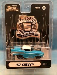 57 Chevy Bel-air Turquoise Muscle Machines 1/64 5th Anniversary 05-26