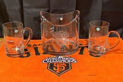 Sf Giants World Series 2010 And 2012 Co. Crystal 3 Piece Set Custom Etched
