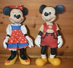 Anri Italy Hand Carved Mickeyand Minnie Mouse Clothed Doll Walt Disney Rare