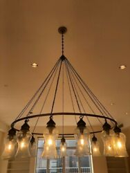 Standout Antique Chandelier Made Of Metal Chain And Glass Lamps
