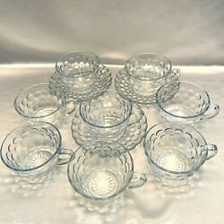 Vintage Anchor Hocking Fire-king Bubble Sapphire Blue Lot Of 8 Cups + 3 Saucers