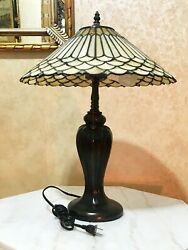 Style Stained Glass Dark Brown Beige Desk Table Night Light Lamp