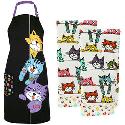 Peeping Cats Kitten Kitchen Apron With Pocket Adjustable And Set Of 2 Towels New