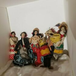 5 Vintage 1940's Caribbean Cloth And Wire Caricature 10 Dolls. Ethnic Island Toys