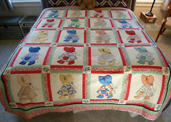 Hand Quilted Sunbonnet Sue Quilt / 80 X 67 / New Price Reduced 11