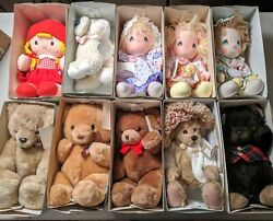 Rare Vintage Teddy Bear / Doll Collection Lot Of 10 Collectible Bears / Dolls