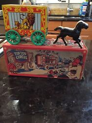 Tin Lithographed Tip Top Circus Wagon Bank By U.s Metal Toy Near Mint In Box