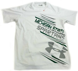 Under Armour Michigan State Spartans Size Small White Heat Gear